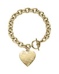Michael Kors | Gray Golden Etched Mk Heart Bracelet | Lyst