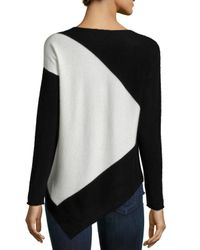 Neiman Marcus Natural Cashmere Asymmetric Colorblock Tunic
