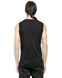 Alexandre Plokhov Black Sleeveless Fine Cotton T-shirt for men