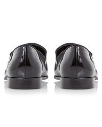 Dune Black Gray Leather Loafers for men