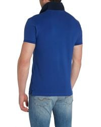 GANT | Blue Contrast Collar Pique Polo Shirt for Men | Lyst