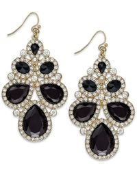 INC International Concepts - Black Gold-tone Jet Stone And Crystal Cluster Drop Earrings - Lyst