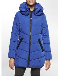Calvin Klein | Blue White Label Funnel Collar Quilted Puffer Coat | Lyst