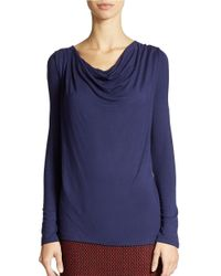 Lord & Taylor | Blue Cowl Neck Top | Lyst