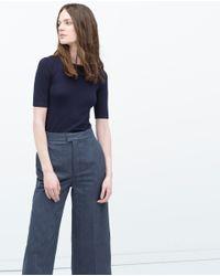 Zara   Blue Short Sleeve Knit Sweater   Lyst