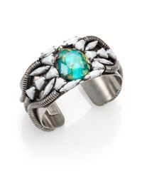 DANNIJO - Metallic Aviva Crystal Cluster Cuff Bracelet - Lyst