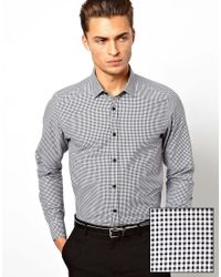 ASOS | White Smart Shirt In Long Sleeve With Mini Gingham Check for Men | Lyst