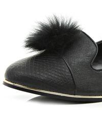 River Island Black Snake Print Pom Pom Slipper Shoes