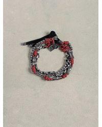 John Varvatos Pink Leather & Silver Mix Bracelet for men