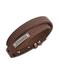 Fossil | Brown Leather and Blue Stitching Wrap Bracelet for Men | Lyst