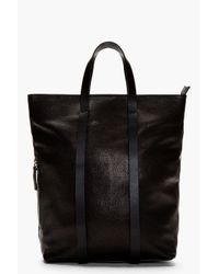 CoSTUME NATIONAL | Black Grained Leather Convertible Backpack Tote for Men | Lyst