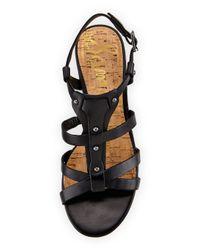 c025718758f4c Lyst - Sam Edelman Angela Leather Strappy Sandal in Black