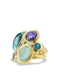 David Yurman Mosaic Ring With Blue Topaz, Milky Aquamarine, And Diamonds In Gold