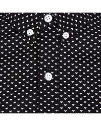 River Island Black Vito Tiny Heart Print Long Sleeve Shirt for men