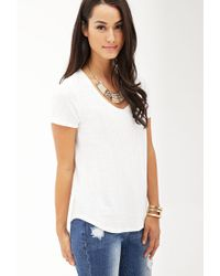 Forever 21 - White Contemporary Slub Jersey V-neck Tee - Lyst