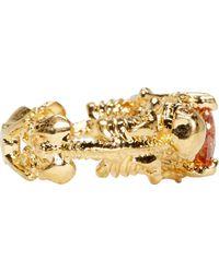 Alexander McQueen   Metallic Gold Two Skeletons Ring   Lyst