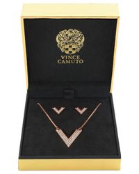 Vince Camuto | Pink Rose Gold-Tone Crystal Pavé V Necklace And Earring Set | Lyst