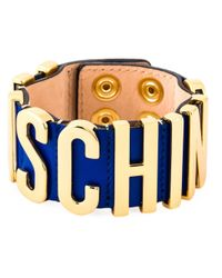 Moschino | Blue Logo Plaque Cuff | Lyst