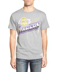 Mitchell & Ness - Gray 'los Angeles Lakers - Last Second Shot' Graphic T-shirt for Men - Lyst