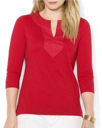 Lauren by Ralph Lauren | Red Plus Cotton Tunic | Lyst