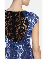 Karen Millen Blue Snake Print Dress