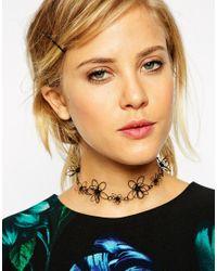 ASOS - Black 3D Flower Choker Necklace - Lyst