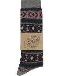Anonymous Ism | Gray Fairisle Wool Socks for Men | Lyst