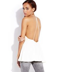 Forever 21 - White Standout Caged Back Top - Lyst