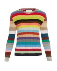Gucci Multicolor Rainbow-stripes Cashmere And Wool-blend Cardigan