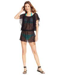 Jessica Simpson - Black Crochet Flutter-Sleeve Cover Up - Lyst