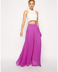 ASOS - Purple Pleated Wide Leg Pants - Lyst