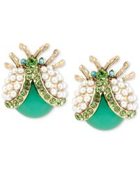 Betsey Johnson | Blue Gold-Tone Imitation Pearl Bug Stud Earrings | Lyst
