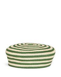 Gucci Green Stripe Hemp-cotton Straw Beret Hat