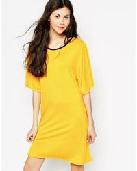 Monki - Yellow Namoi T-shirt Dress - Lyst