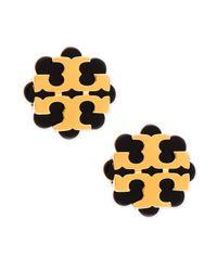 Tory Burch | Black Resin Flower Logo Stud Earrings | Lyst