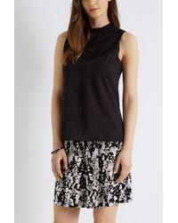 Oasis Black Embellished Cotton Top