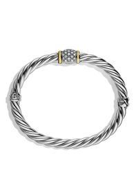 David Yurman Metallic Metro Bracelet With Diamonds And Gold
