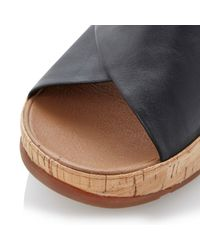 Fitflop | Black Kys Leather Round Toe Crossover Wedge Sandals | Lyst