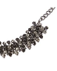 River Island | Metallic Silver Tone Black Embellished Necklace | Lyst