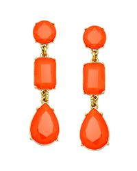 kate spade new york | New York Goldtone Red Stone Linear Drop Earrings | Lyst