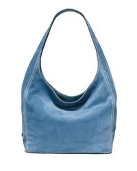 MICHAEL Michael Kors Blue Lena Large Suede Shoulder Bag
