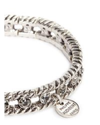 Philippe Audibert - White Engraved Swarovski Crystal Elasticated Bracelet - Lyst