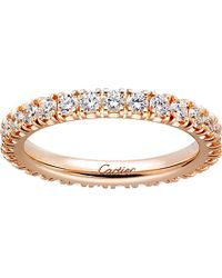 Cartier - Lignes 18ct Pink-gold And Diamond Wedding Band - Lyst