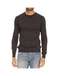 Paolo Pecora - Gray Sweater Crewneck Wool Basic for Men - Lyst