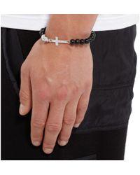 Luis Morais Black White Gold And Ebony Bead Bracelet for men