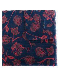 Kiton - Blue Floral Print Scarf - Lyst
