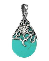 Aeravida | Blue Vintage Vine Adorned Turquoise Teardrop .925 Silver Pendant | Lyst