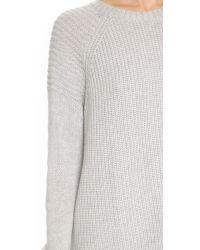 Autumn Cashmere Gray Oversize Moto Crew Neck Sweater