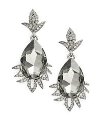 Oscar de la Renta | Metallic Pear Crystal Clip-on Drop Earrings | Lyst