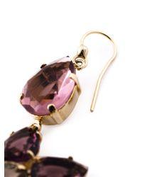 Alberta Ferretti | Purple Crystal Flower Drop Earrings | Lyst